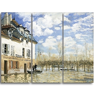 Designart Alfred Sisley, Boat in the Flood at Port Marly 3 Piece Canvas Art Print, (PT4127-3P)