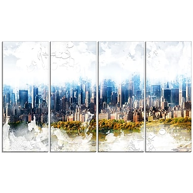 Designart Abstract Blue Cityscape Large Canvas Art Print, (PT3312-271)