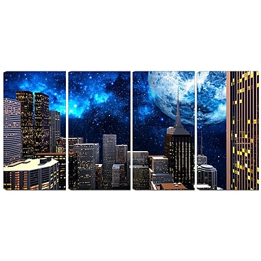 Design Art Abstract City at Night 4-Panel Contemporary Canvas Art Print
