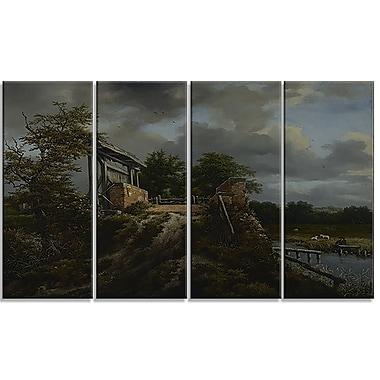 Design Art – Jacob van Ruisdael, Bridge with a Sluice, impression sur toile