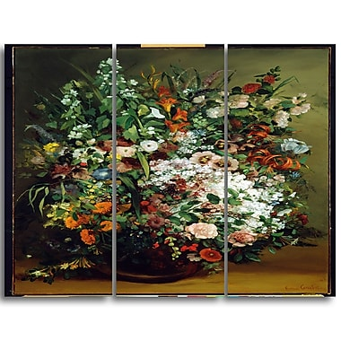Designart Gustave Courbet, Bouquet of Flowers Canvas Art Print, 3 Panels, (PT4462-3P)