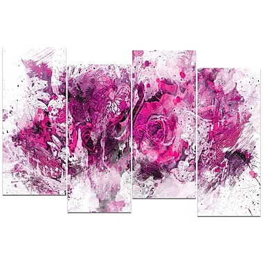 Designart Pink Purple Flowers 4-Panel Canvas Art Print, (PT3414-5-271)