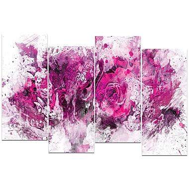Designart – Art imprimé sur toile, fleurs violettes et roses, 4 panneaux (PT3414-5-271)
