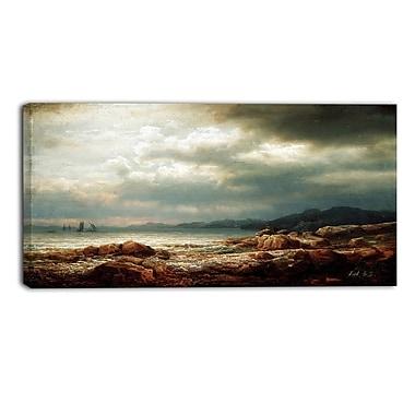 Designart Lars Hertervig, Coastal Landscape Canvas Art Print, (PT4694-32-16)