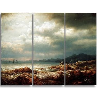 Designart Lars Hertervig, Coastal Landscape Canvas Art Print, (PT4694-3P)