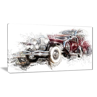 Designart American Hot Rod Car Canvas Art Print, (PT2655-32-16)