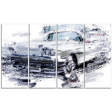 Designart Grey Muscle Car Large Gallery Wrapped Canvas, (PT2609-271)