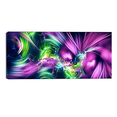 Designart Green and Purple Shine Contemporary Canvas Art, (PT3061-32-16)