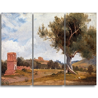 Designart Charles Lock Eastlake, A View at Girgenti in Sicily Landscape Canvas Arwork, (PT4220-3P)