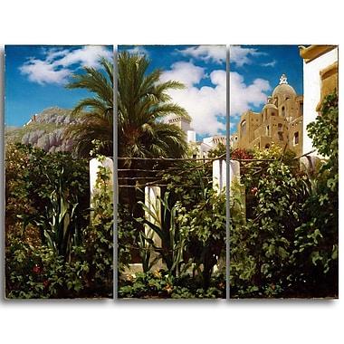 Designart Frederic Leighton, Garden of an Inn, Capri Landscape Canvas Art Print, (PT4392-3P)