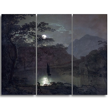 Designart Joseph Wright, A Lake by Moonlight Canvas Art Print, (PT4669-3P)