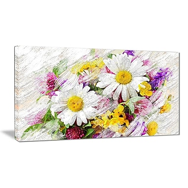 Designart Wild Flowers Bouquet Canvas Art Print, (PT3436-32-16)