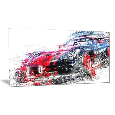 Designart Red and Black Sports Car Canvas Art Print, (PT2638-32-16)