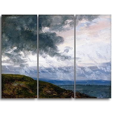 Designart JC Dahl, Study of Drifting Clouds Sea & Shore Canvas Art Print, (PT4568-3P)