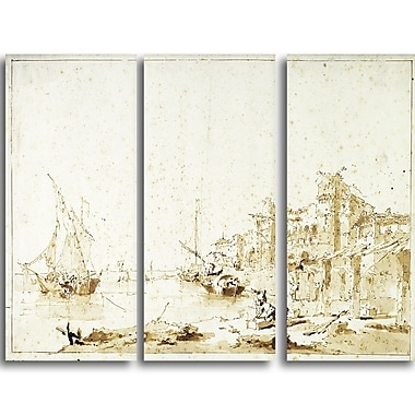 Designart Francesco Guardi, View of a Venetian Lagoon Canvas Art Print, (PT4381-3P)