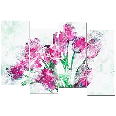 Designart Pink Tulips Canvas Art, (PT3402-271)