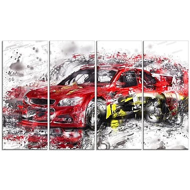 Design Art Red Rally Car Large Gallery Wrapped Canvas