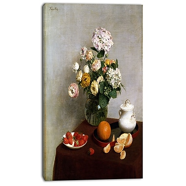 Designart Henri Fantin Latour, Flowers and Fruit Canvas Art Print, 3 Panels, (PT4491-16-32)