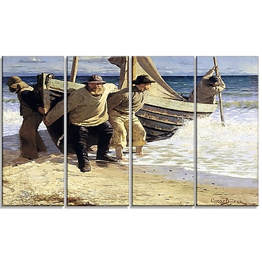Designart Oscar Bjorck, Launching the boat, Skagen Canvas Art Print, (PT4758-271)