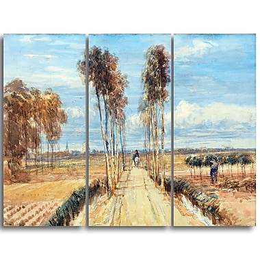 Designart David Cox, The Poplar Avenue Landscape Canvas Arwork, (PT4290-3P)