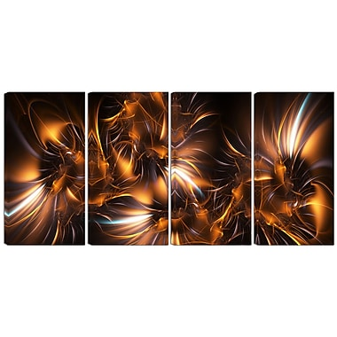 Designart Silver and Gold Stars 4-Panel Modern Canvas Art Print, (PT3039-271)