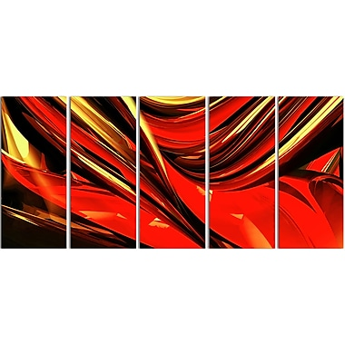 Designart Fire Lines Red Abstract Canvas Art Print, (PT3011-401)