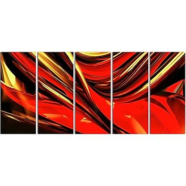 Designart – Imprimé sur toile abstrait, lignes de feu, rouge (PT3011-401)
