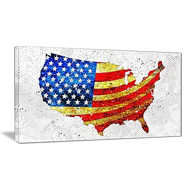 Designart USA Flag on the Map Canvas Art Print, (PT2834-32-16)