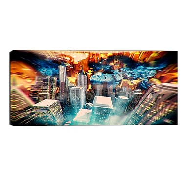 Designart Dessign Art Abstract City at Sunrise Contemporary Canvas Art Print, (PT3065-32-16)
