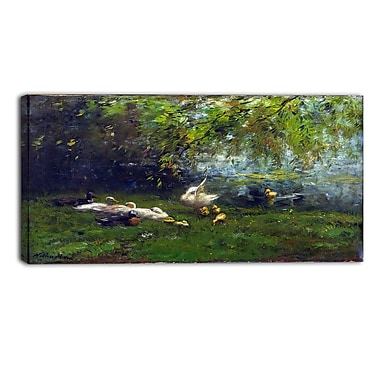Designart Willem Maris, Duck Heaven Canvas Art Print, (PT4995-32-16)