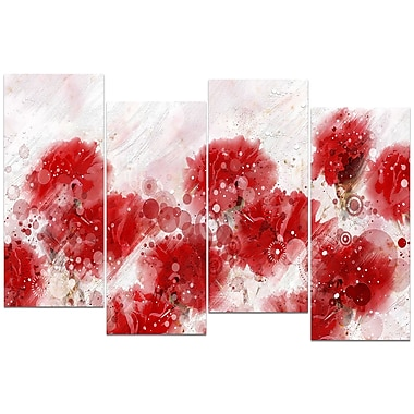 Designart Red Dandelions 4-Panel Canvas Art Print, (PT3412-1-271)