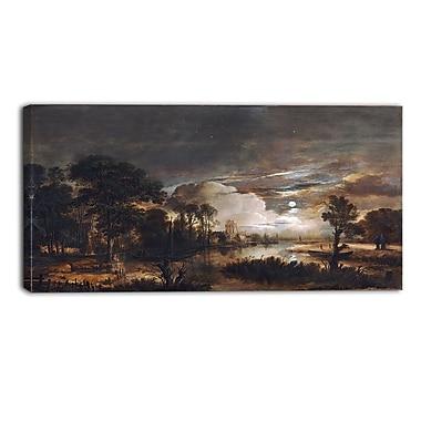 Designart – Paysage au clair de lune par Aert van der Neer, imprimé sur toile, 3 panneaux (PT4110-32-16)