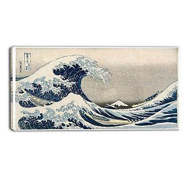 Designart Katsushika Hokusai, Under the Wave off Kanagawa Asian Canvas Art Print, (PT4687-32-16)