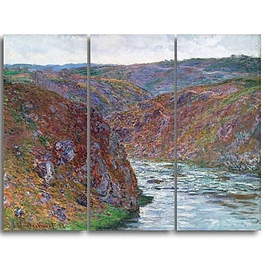 Designart Claude Monet, Valley of the Creuse Landscape Canvas Arwork, (PT4265-3P)