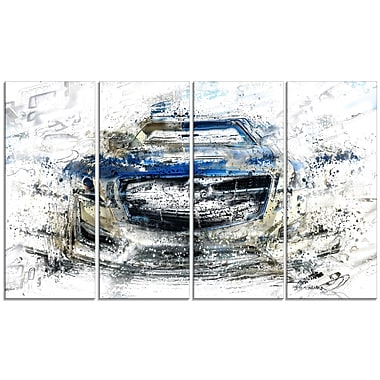 Designart Abstract Muscle Car, 4 Piece Gallery-Wrapped Canvas, (PT2648-271)