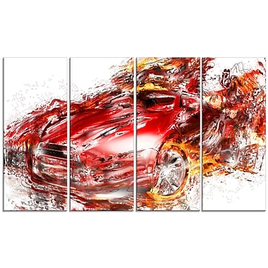 Designart Flaming Red Sports Car Large Gallery Wrapped Canvas, (PT2601-271)