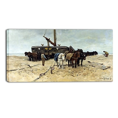 Designart Anton Mauve, Fishing Boat on the Beach Canvas Art Print, (PT4151-32-16)