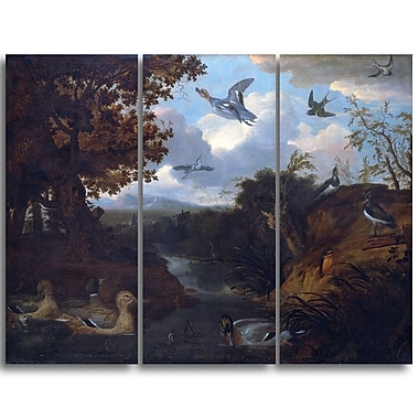 Designart Francis Barlow, Ducks and Other Birds about a Stream Landscape Canvas Art Print, (PT4386-3P)