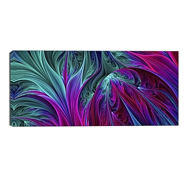 Designart Purple and Green Jungle Modern Canvas Art Print, (PT3085-32-16)