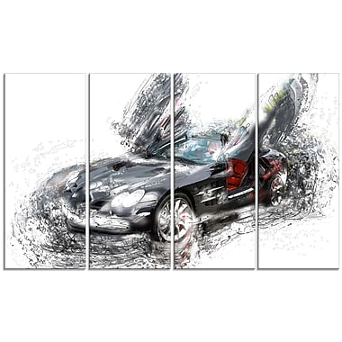 Designart Black Luxury Super Car, 4 Piece Gallery-Wrapped Canvas, (PT2630-271)