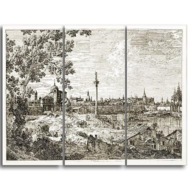 Designart – Canaletto, vue imaginaire de Padua, œuvre d'art d'un paysage sur toile (PT4201-3P)