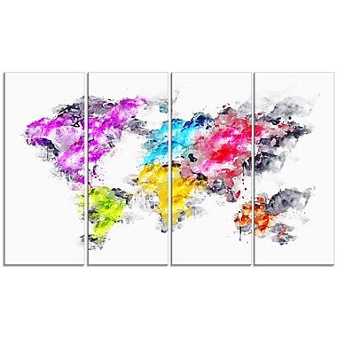 Designart Colours of the Rainbow Map Canvas Art Print, (PT2737-271)