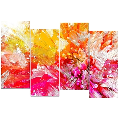 Designart Vibrant Colours Flower 4-Panel Canvas Art Print, (PT3422-2-271)