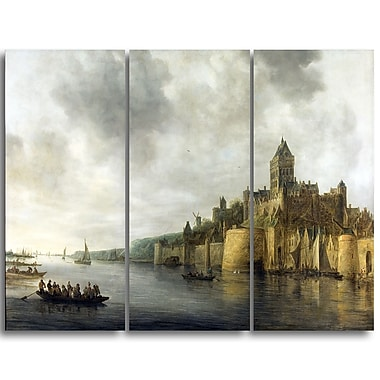 Designart Jan van Goyen, View on the Waal Sea & Shore Canvas Art Print, (PT4737-3P)