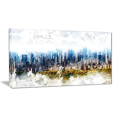 Designart Abstract Blue Cityscape Large Canvas Art Print, (PT3312-32-16)