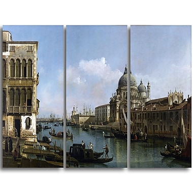 Designart Bernardo Bellotto, View of the Grand Canal Canvas Art Print, (PT4173-3P)