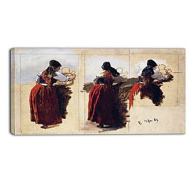 Designart Hans Gude, Studies of a Woman from Rugen Canvas Art Print, (PT4467-40-20)