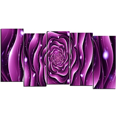 Designart Purple Rose 5-Panel Canvas Art Print, (PT3007-1084)