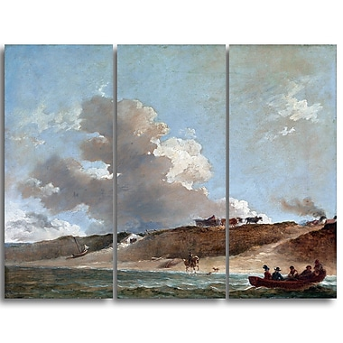 Designart Peter Francis Bourgeois, Coastal Landscape with Boat Canvas Art Print, (PT4841-3P)