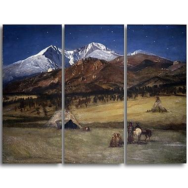 Designart Albert Bierstadt, Indian Encampment Evening 3-Panel Canvas Art Print, (PT4115-3P)